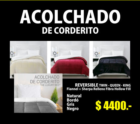 ACOLCHADO DE CORDERITO  $ 4400.-  REVERSIBLE TWIN - QUEEN - KING Flannel + Sherpa Relleno Fibra Hollow Fill   Natural Bordó Gris Negro